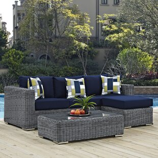 Keiran 3 Piece Sunbrella Sofa Set with Cushions