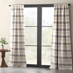 Cara Cotton Blend Diamond Jacquard Lined Ikat Max Blackout Rod Pocket Single Curtain Panel by Eider & Ivory