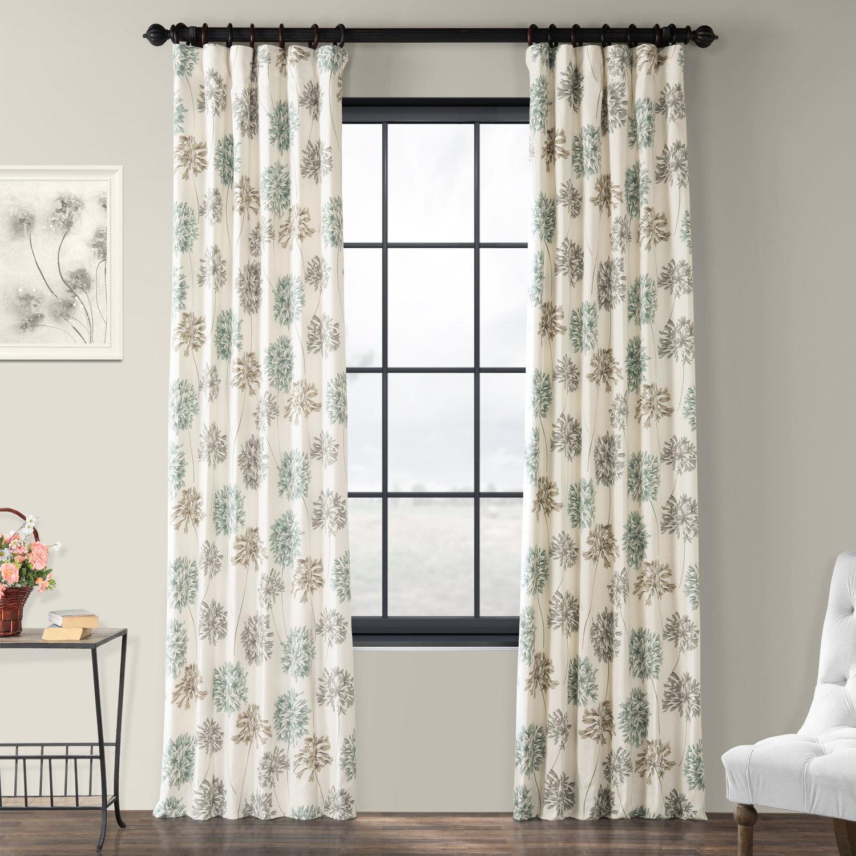 Abbott Printed 100 Cotton Floral Room Darkening Rod Pocket Single Curtain Panel Reviews Joss Main