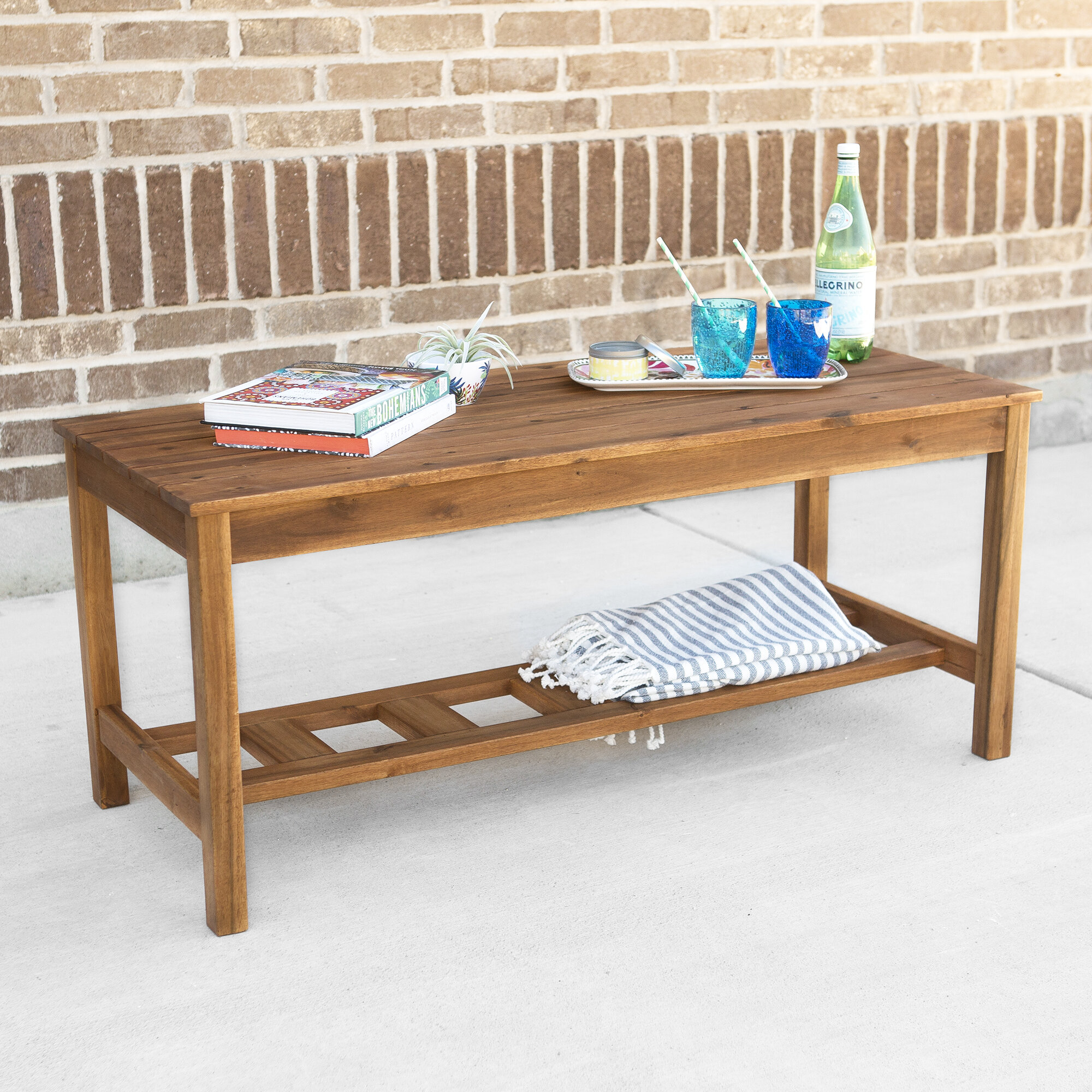 Walker Edison Ladder Base Patio Coffee Table & Reviews