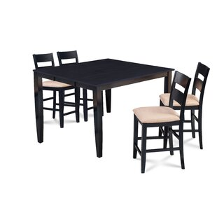Almodovar 5 Piece Counter Height Extendable Solid Wood Dining Set Charlton Home