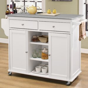 Brecht Kitchen Cart with Stainless Steel Top by Alcott Hill Compare Price