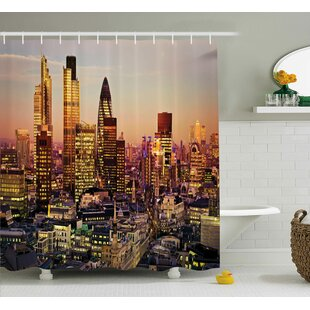 Deals Valentina New York Global City Sunset With Light Reflecting on Skyscrapers Famous Town Landmark View Shower Curtain By Ivy Bronx