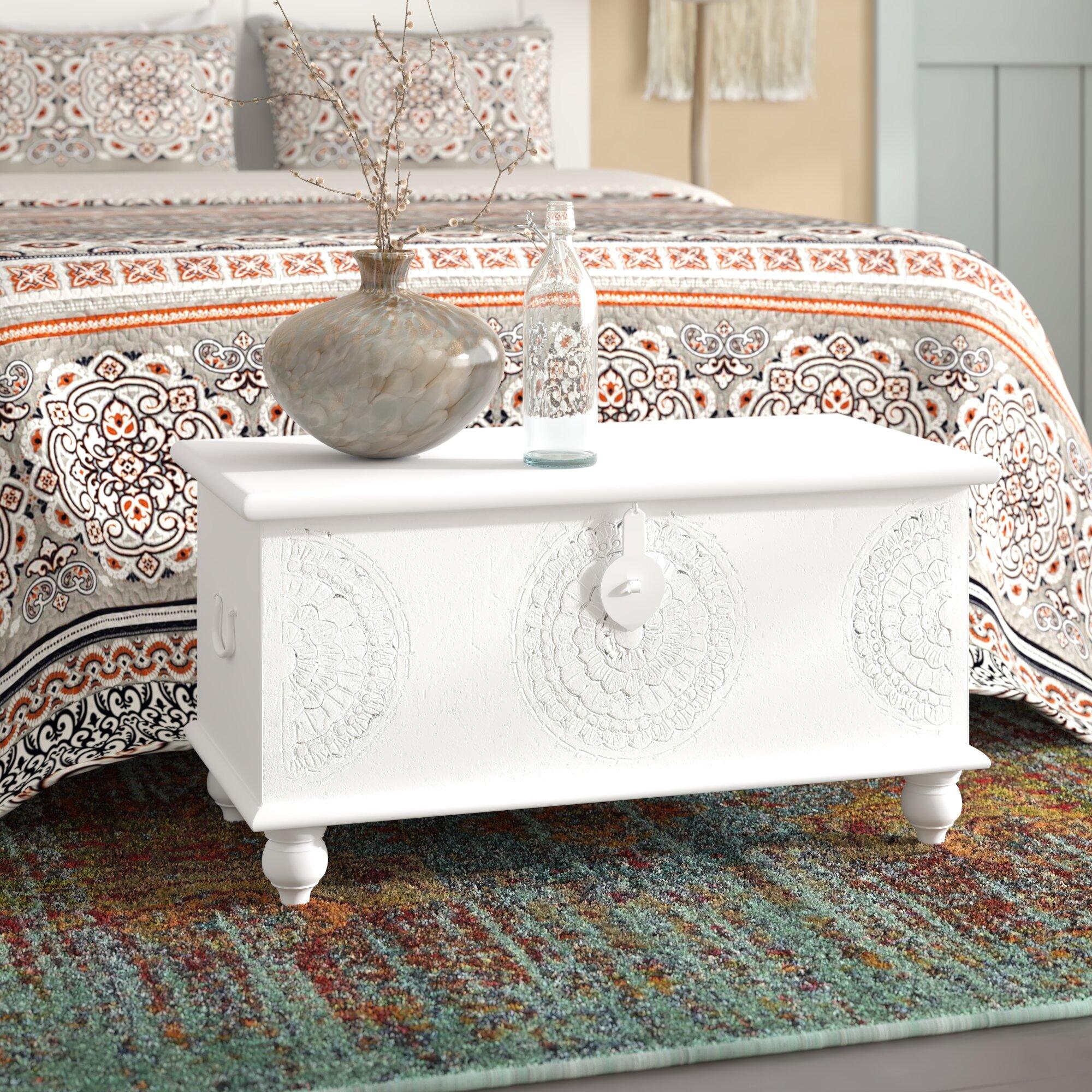 Rustique Gris Large en Bois Stockage Coffre table basse avec deux tiroirs