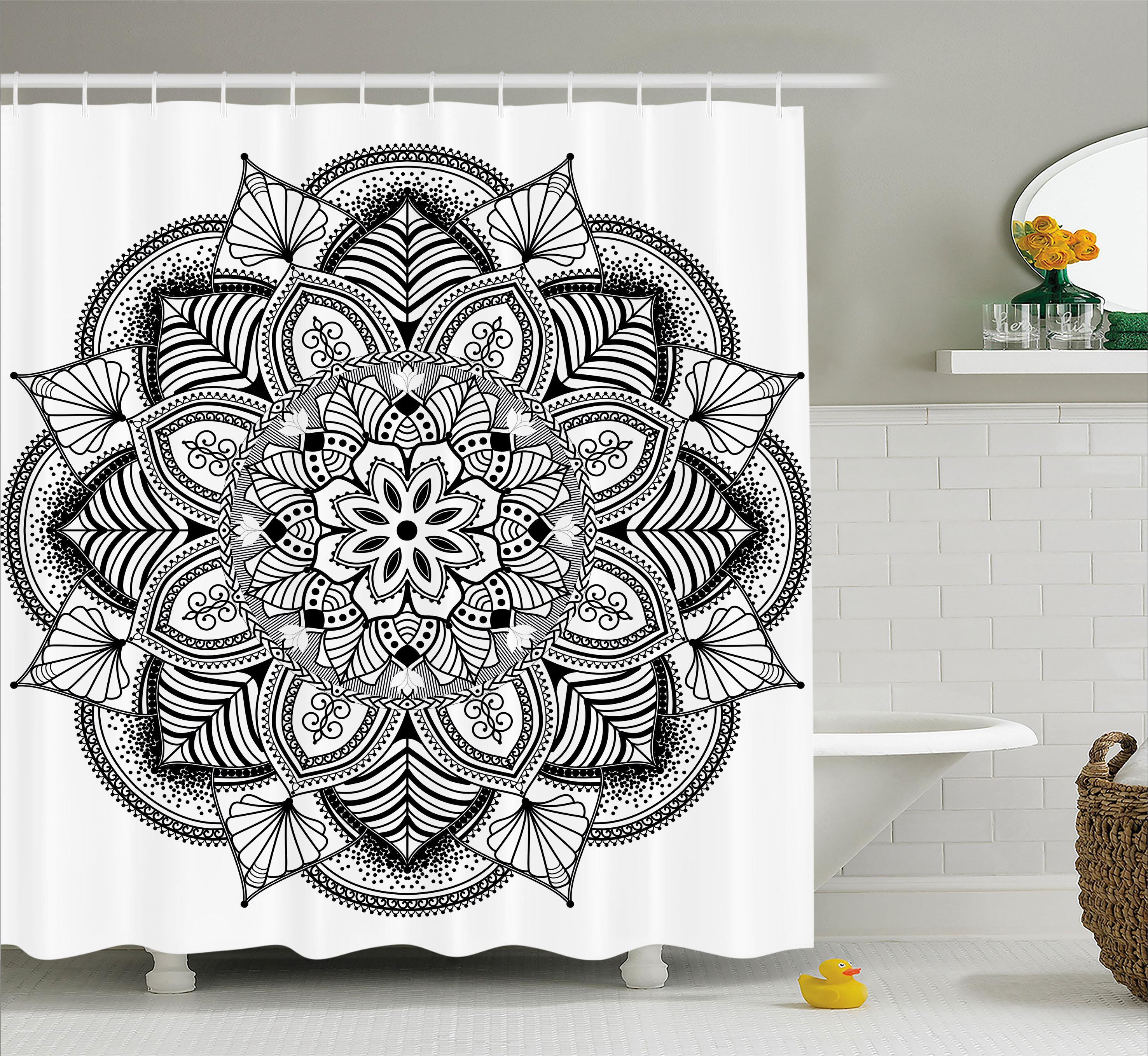 Ebern Designs Barbara Mandala Ringed Ethnic Floral Pattern With Ornate Tile And Lines Boho Circle Home Art Single Shower Curtain Wayfair Ca
