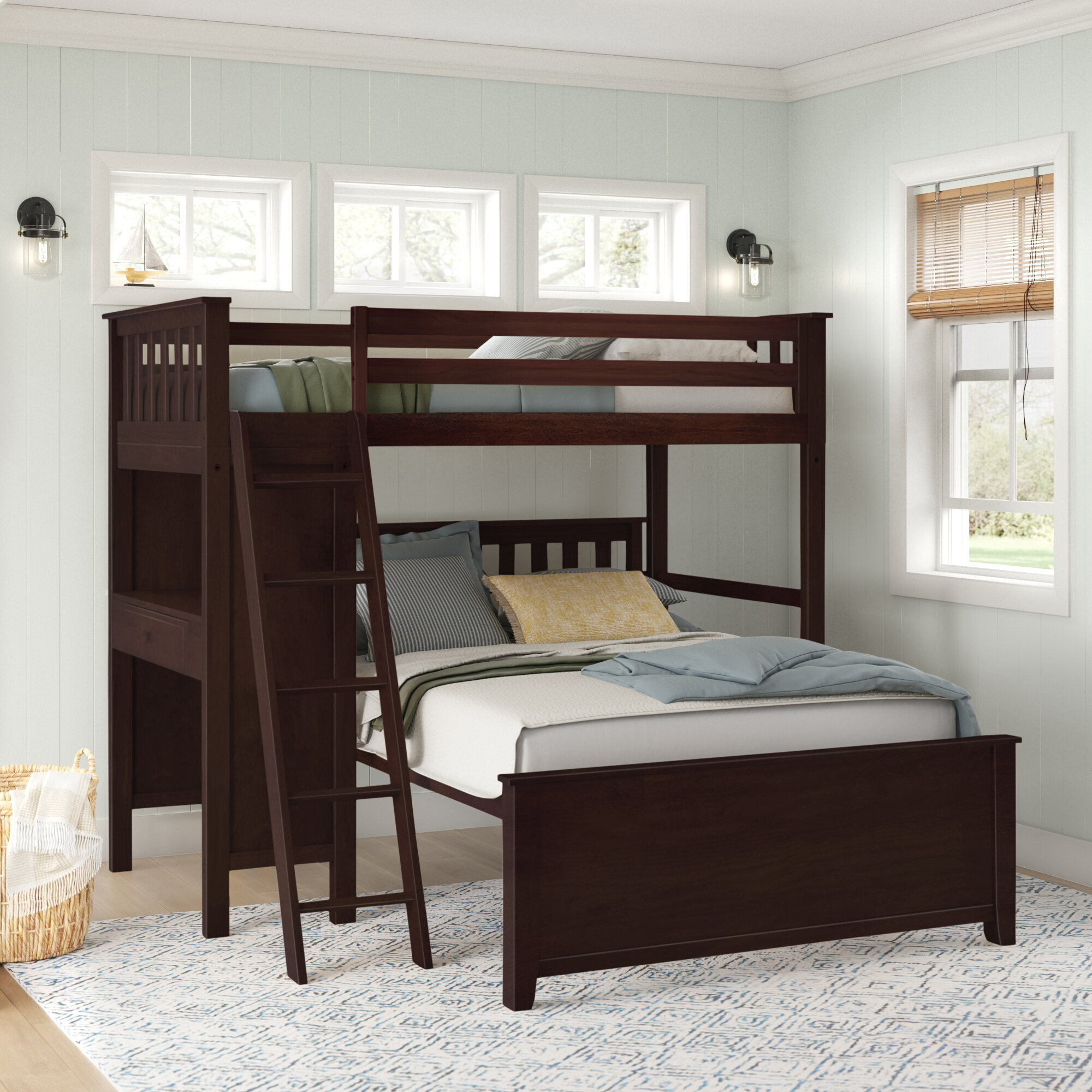 Sand Stable Baby Kids Ambrie Twin Over Full Solid Wood L Shaped Bunk Beds With Built In Desk By Sand Stable Baby Kids Reviews Wayfair