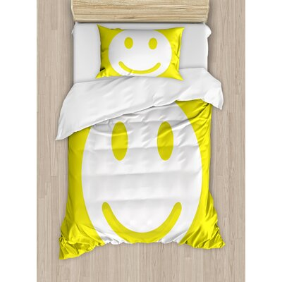Rise And Shine Positive Optimistic Classic Big Smiley Happy Face Artwork  Duvet Set