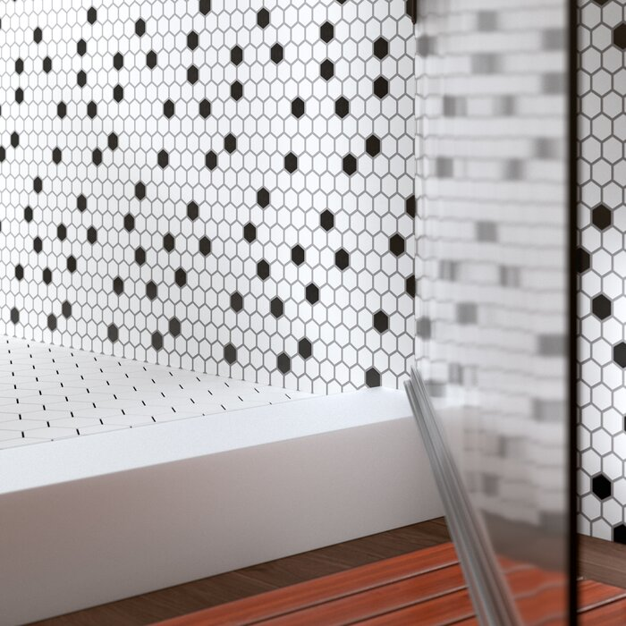 Domino Hexagon 1 X Porcelain Mosaic Tile In Matte Black White