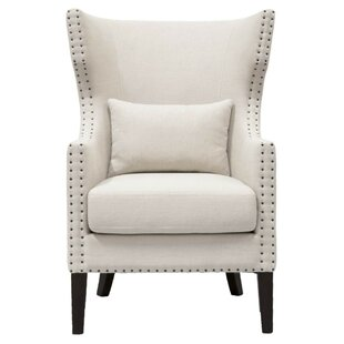 Abbie Wooden Frame Upholstered Wingback Chair by Rosdorf Park