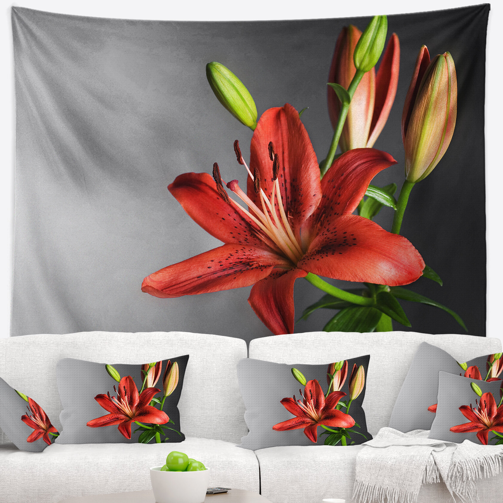 East urban home cute red lily flower over black tapestry and wall east urban home cute red lily flower over black tapestry and wall hanging wayfair izmirmasajfo