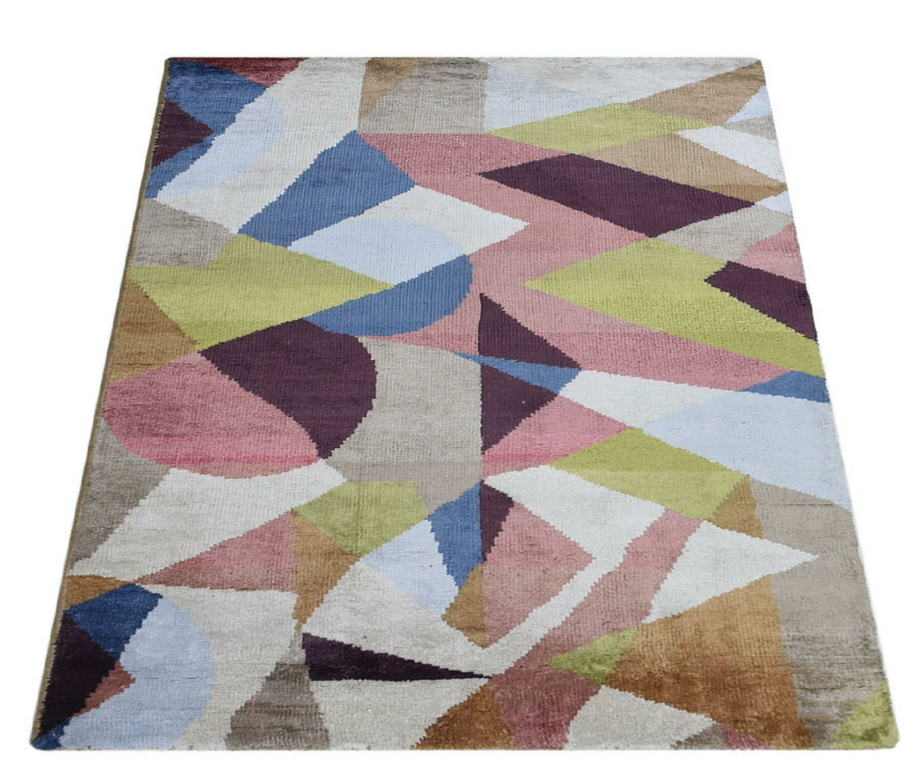 George Oliver Patchway Abstract Hand Knotted Blue Area Rug Wayfair