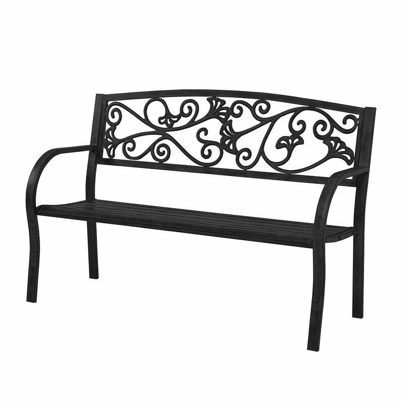 Ornate Ginkgo Leaf Design Cast Iron Garden Bench