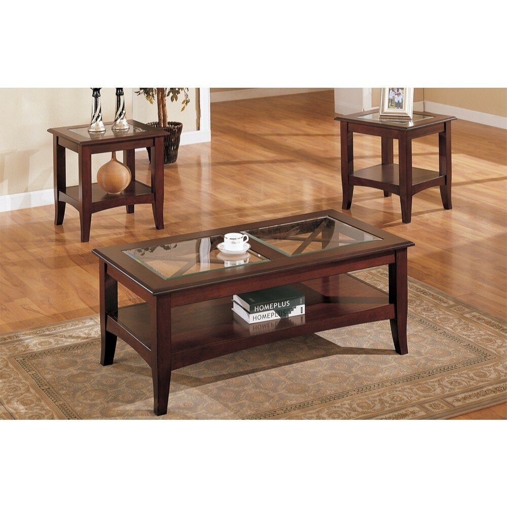 84807585a8 Charlton Home Holte Wooden 3 Piece Coffee Table Set with Glass Top ...