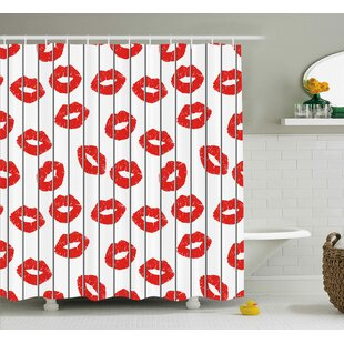 Trina Glamour Trendy Woman Lips Behind The Bars Female Love Romance Valentines Print Single Shower Curtain