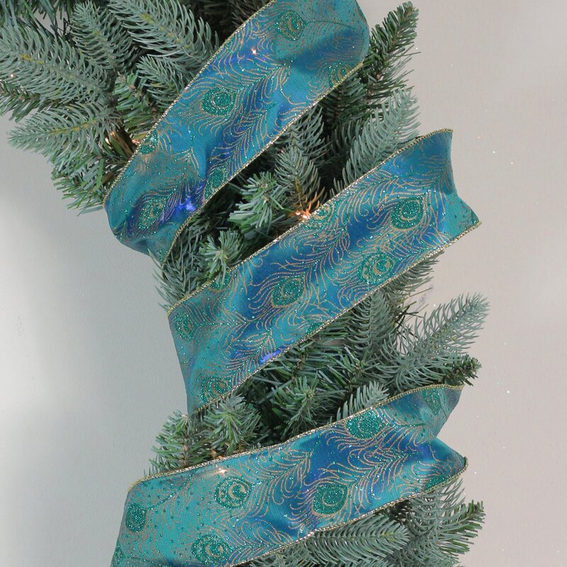 "GREEN WIRE EDGED RIBBON 1-1//2/"" x 5 Yards Christmas"