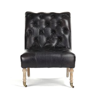 Harland Tufted Leather Slipper Chair by Canora Grey