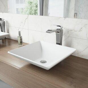 Reviews VIGO Matte Stone Square Vessel Bathroom Sink with Faucet By VIGO