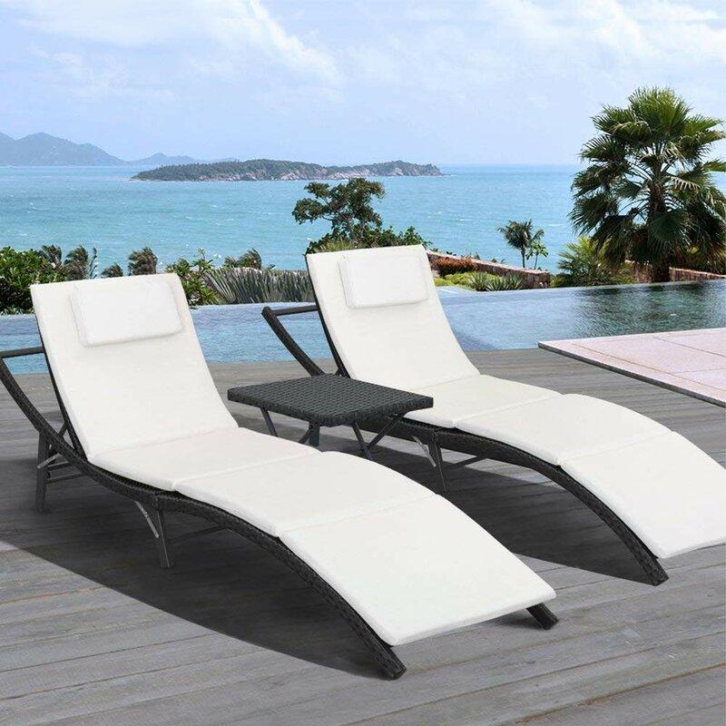 Ebern Designs Raminez Sun Lounger Set With Cushion And Table