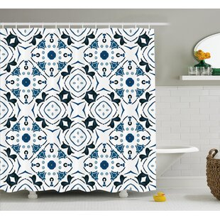 Fabric Decor Single Shower Curtain with 12 hooks