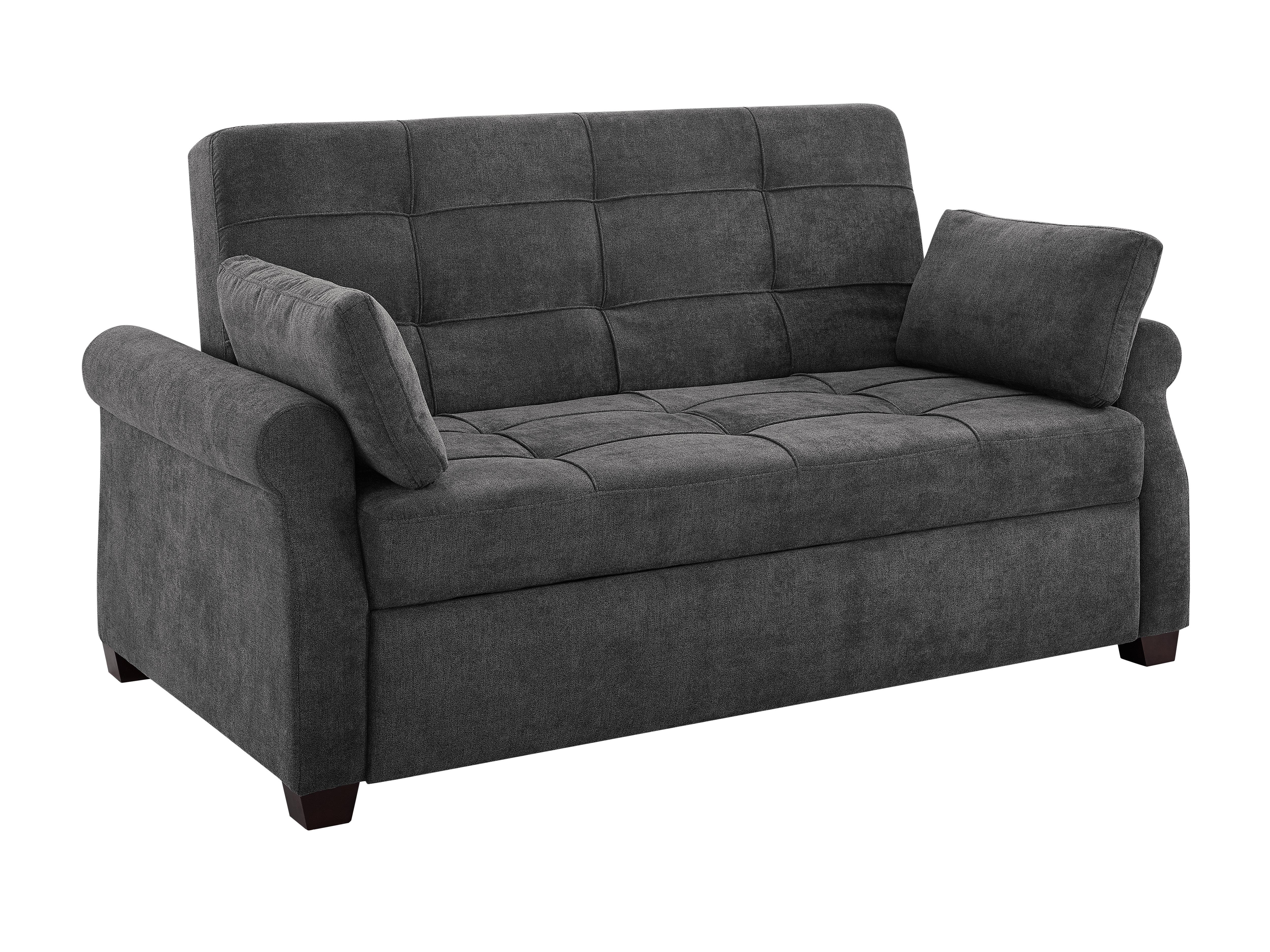 Picture of: Serta Futons Sabrina Microfiber 72 6 Rolled Arm Sofa Bed Reviews Wayfair