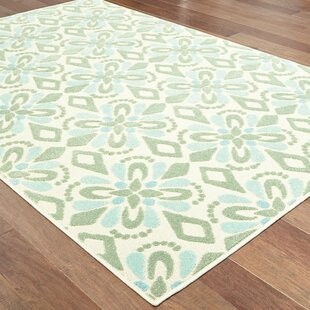 Fluellen Floral Ivory/Green Indoor/Outdoor Area Rug