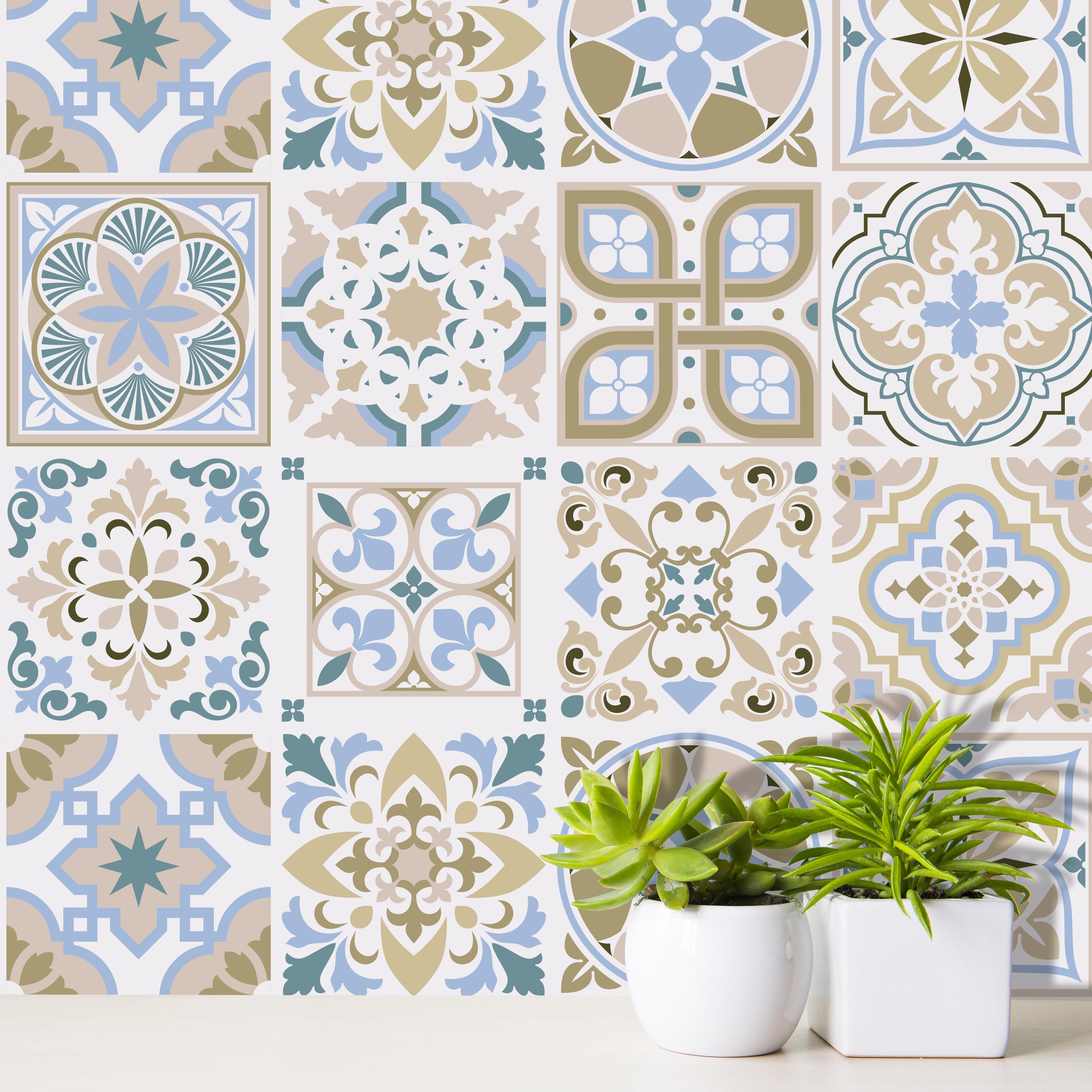 World Menagerie 24 Piece Light Sapphire And Parchment Spanish Tile Window Decal Set Wayfair