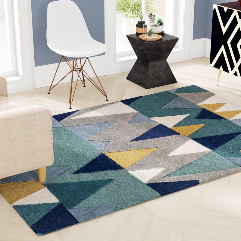 Mercury Row Sandin Geometric Hand Tufted Wool Bright Blue Rug Reviews Wayfair