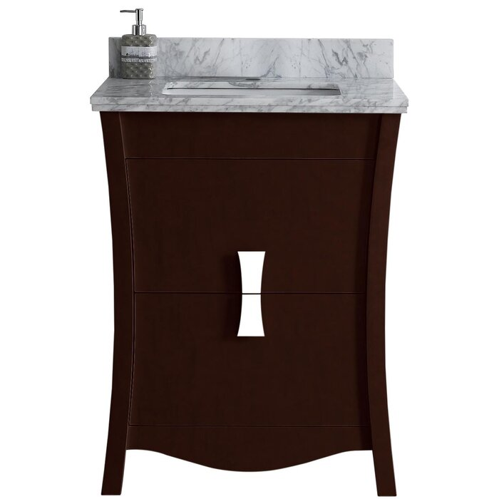 Cataldo Floor Mount 24 Single Bathroom Vanity Set With Hole Faucet