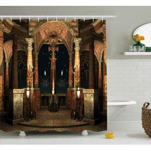 Mystic Ancient Hall Pillars and Christian Cross Dome Shrine Church Shower Curtain by East Urban Home