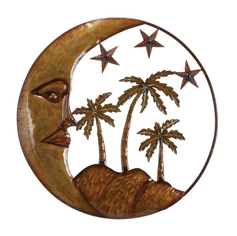 Iron/Metal Moon Star Palm Tree Wall Décor