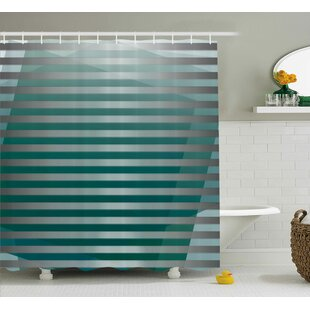 Enrique Graphic Striped Media Shower Curtain + Hooks