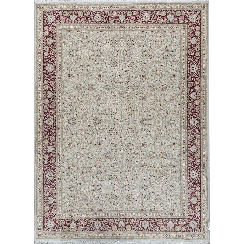 Bokara Rug Co Inc Oriental Hand Knotted Wool Ivory Red Area Rug Wayfair