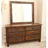 Emsworth Barnwood 6 Drawer Double Dresser with Mirror by Loon Peak®