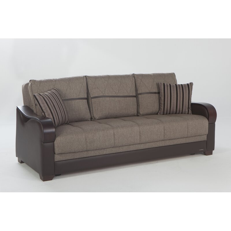 Florio Leather Convertible Sofa