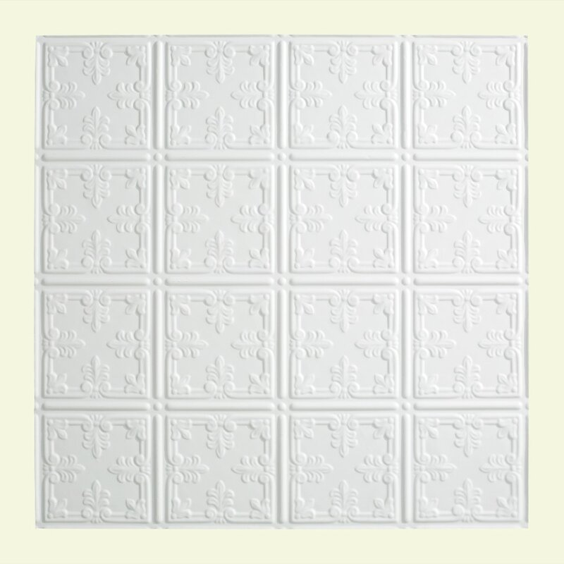 Fasade Traditional Style Ten 2 Ft X 2 Ft Lay In Ceiling Tile In Matte White Wayfair