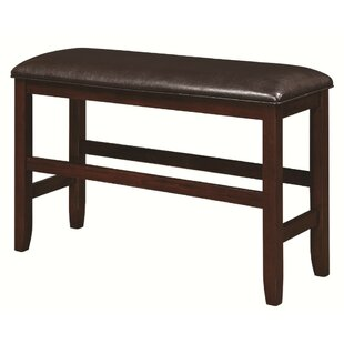 Mengel Transitional Counter Height Leather Bench by Bloomsbury Market