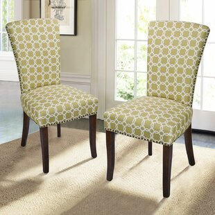 Miriam Floral Upholstered Dining Chair with Birch Legs (Set of 2)