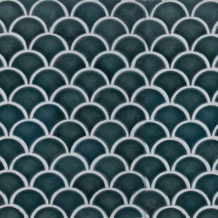 Azul Scallop Ceramic Mosaic Tile in Blue