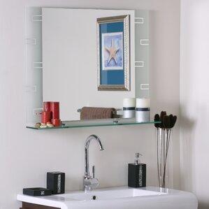 Elegant Wyona Frameless Wall Mirror With Shelf
