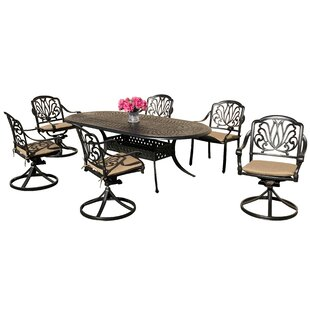 Nina 7 Piece Sunbrella Dining Set with Sunbrella Cushions