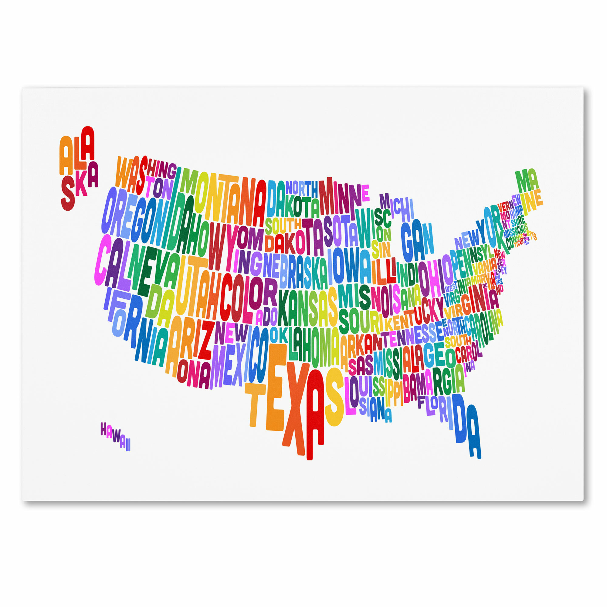 Trademark Art Usa States Text Map 3 By Michael Tompsett Framed Textual Art On Wrapped Canvas Wayfair
