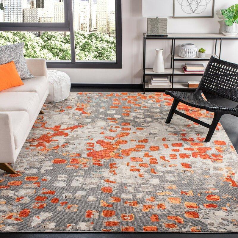 Wrought Studio Poche Abstract Orange Area Rug Reviews Wayfair