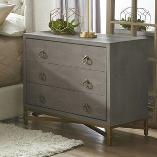 Ormside Shagreen 3 Drawer Nightstand by Gracie Oaks