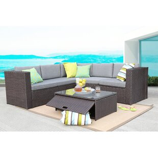 Saltville 4 Piece Rattan Sectional Set With Cushions By Beachcrest Home