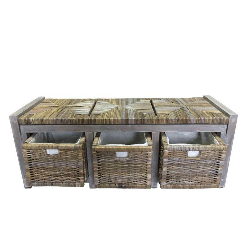 Bayou Breeze Hillside Wicker Drawer Storage Bench Wayfair