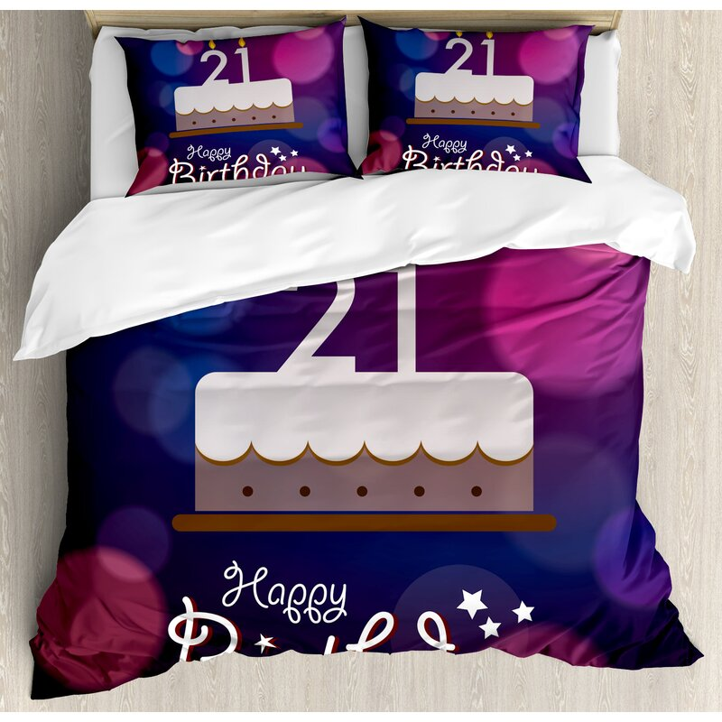 21st Birthday Decorations Happy Quote With Stars On Abstract Image Duvet Cover Set