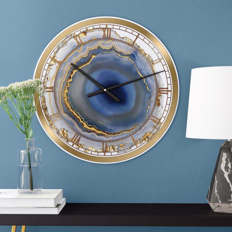 East Urban Home Water Agate Fashion Wall Clock Reviews Wayfair