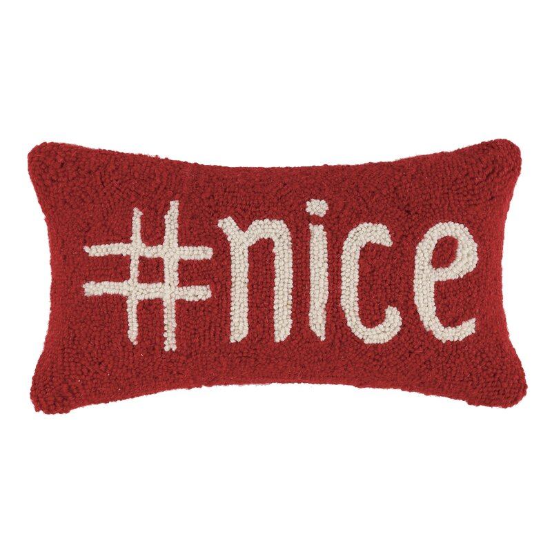 Friddle Hashtag Nice Hook Wool Lumbar Pillow