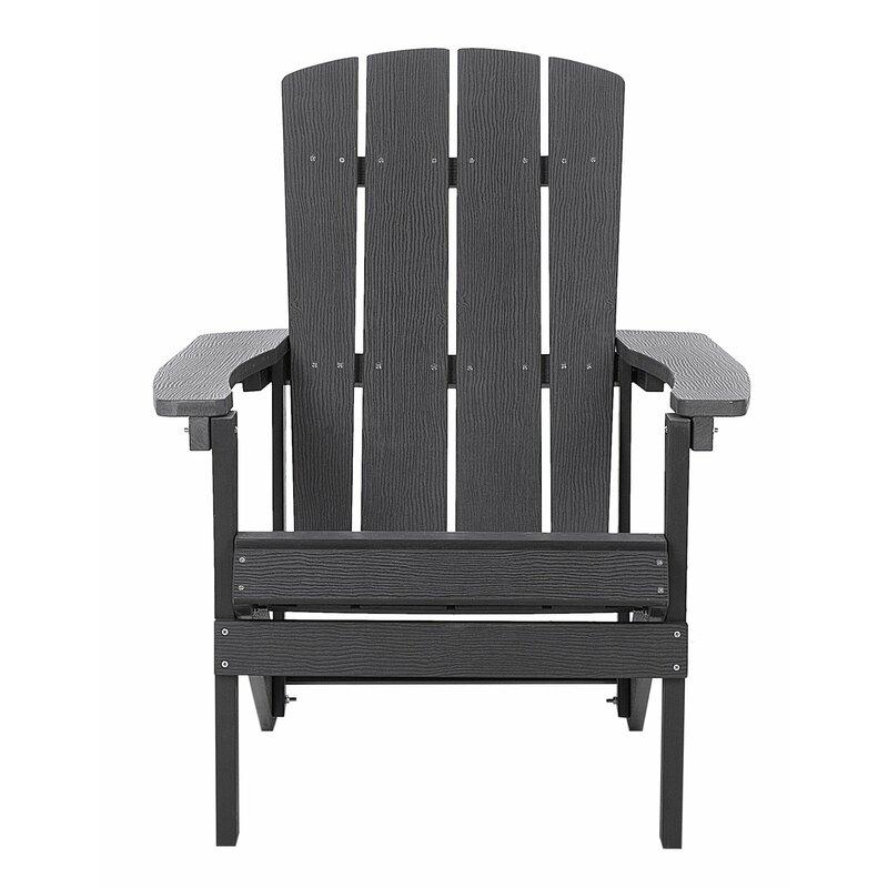 Highland Dunes Lindahl Patio Plastic Adirondack Chair  Color: Dark Gray