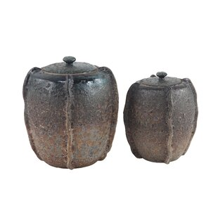 Traditional Textured Stoneware 2 Piece Storage Jar Set